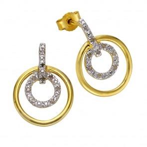 Goldene Ohrringe mit Diamanten