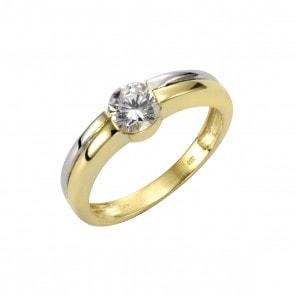 Zweifarbiger Ring mit Zirkonia Besatz