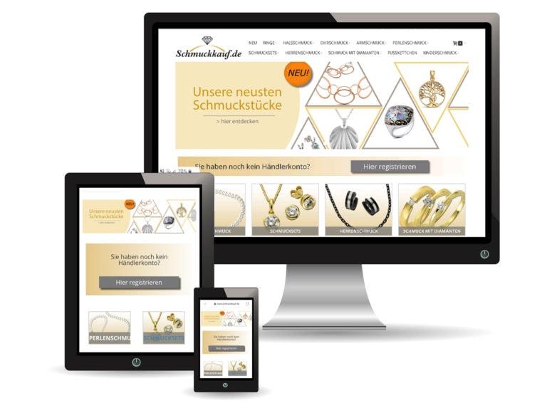 Verschiedene Endgeräte zeigen den Online Schmuck B2B Shop