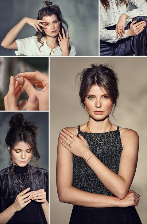 Collage von jungen Frauen mit modernem Schmuck