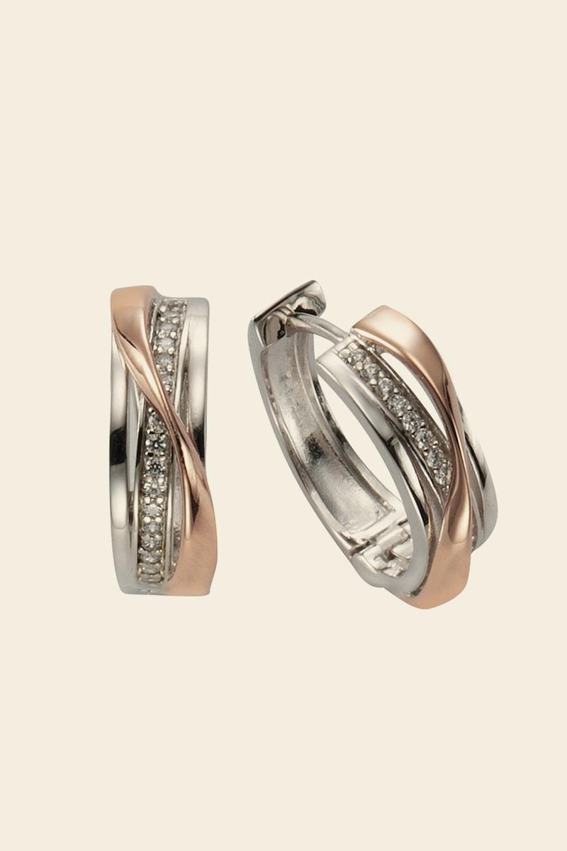 Trendige Ohrringe aus Silber und Roségold
